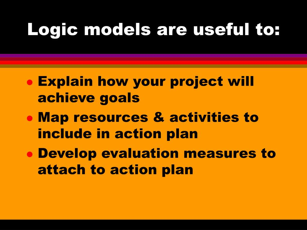 Logic models are useful to: