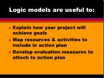 logic models are useful to