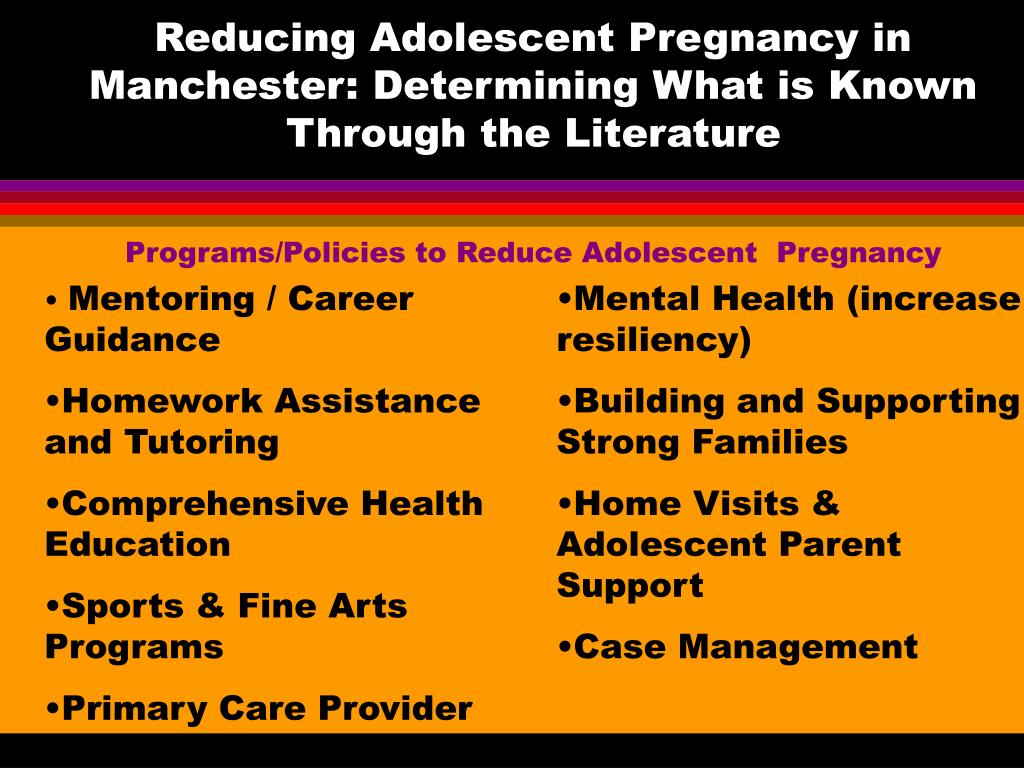 Reducing Adolescent Pregnancy in Manchester: Determining What is Known