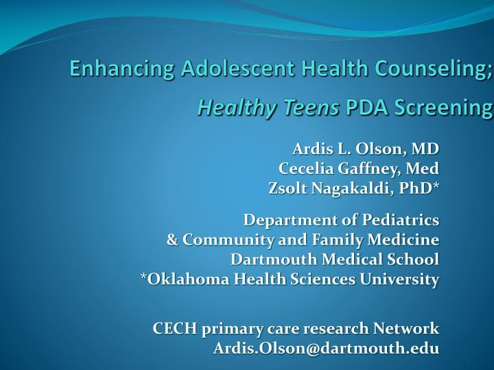 Enhancing adolescent health counseling healthy teens pda screening