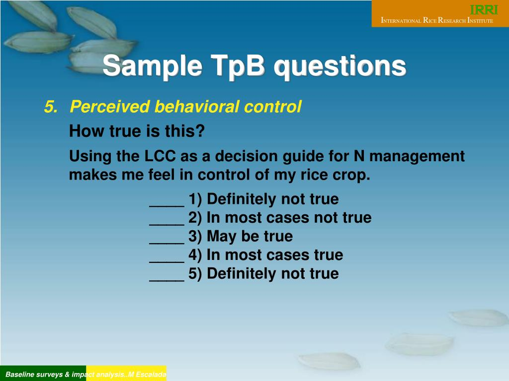 Sample TpB questions