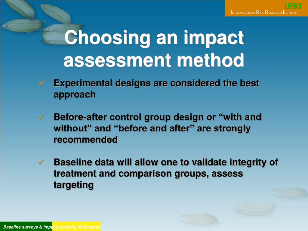 Choosing an impact assessment method