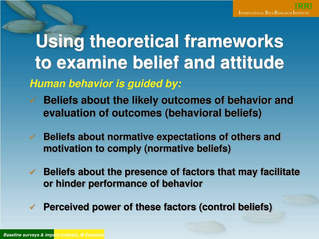 Using theoretical frameworks to examine belief and attitude