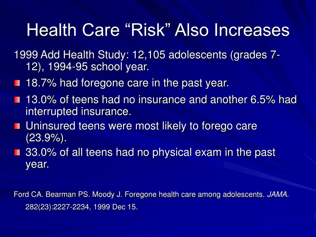 "Health Care ""Risk"" Also Increases"