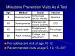 milestone prevention visits as a tool