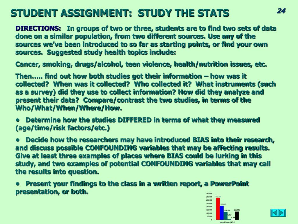 STUDENT ASSIGNMENT:  STUDY THE STATS