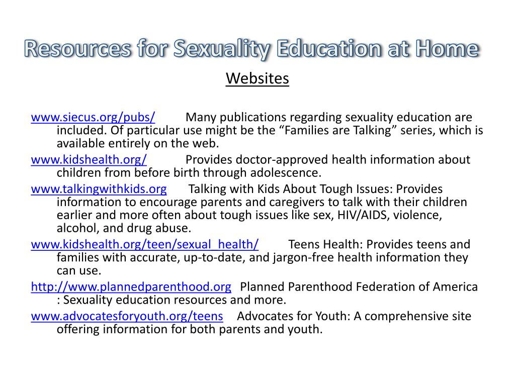 Resources for Sexuality Education at Home