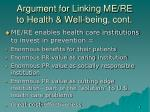 argument for linking me re to health well being cont