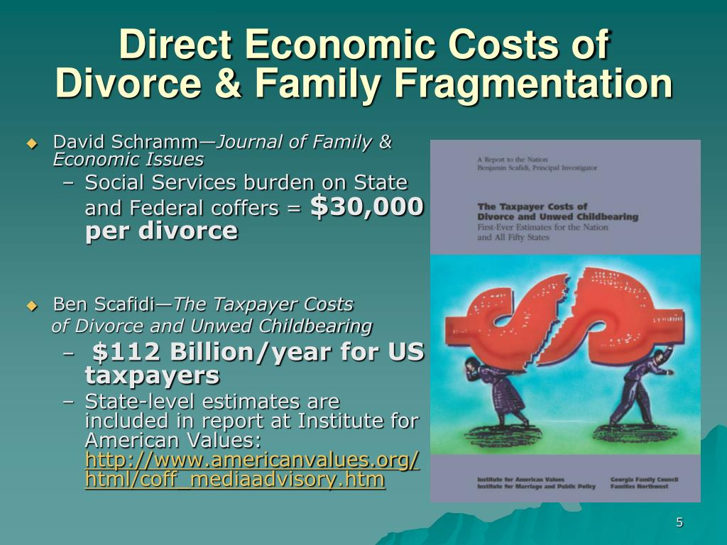 Direct Economic Costs of Divorce & Family Fragmentation
