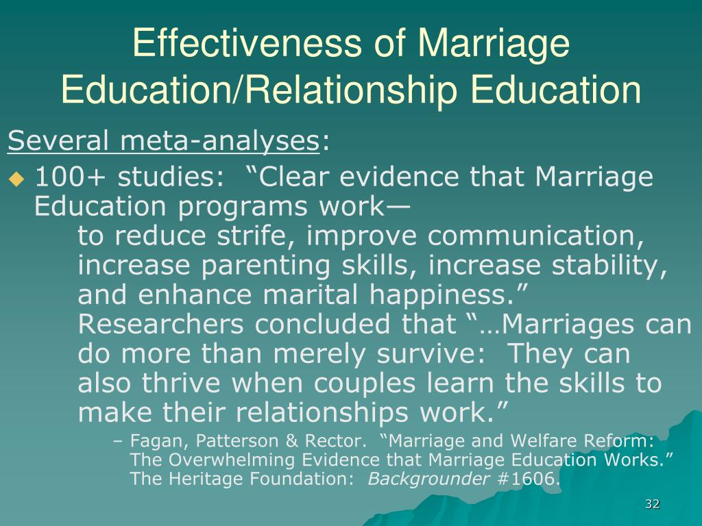 Effectiveness of Marriage Education/Relationship Education