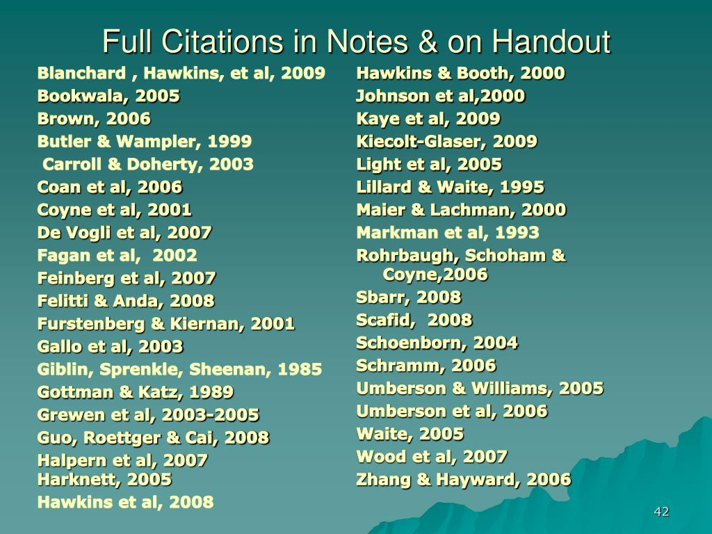 Full Citations in Notes & on Handout