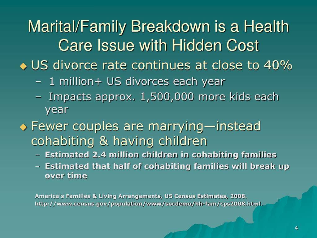 Marital/Family Breakdown is a Health Care Issue with Hidden Cost