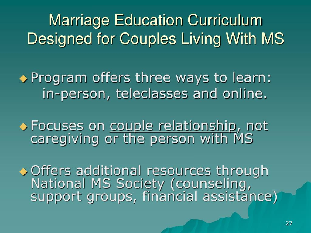 Marriage Education Curriculum Designed for Couples Living With MS