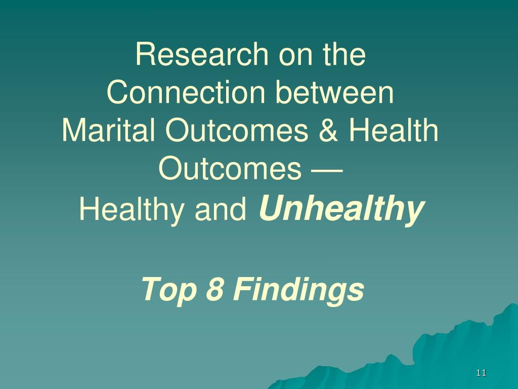 Research on the Connection between Marital Outcomes & Health Outcomes —