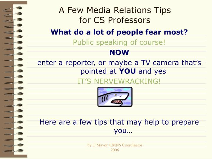 A few media relations tips for cs professors