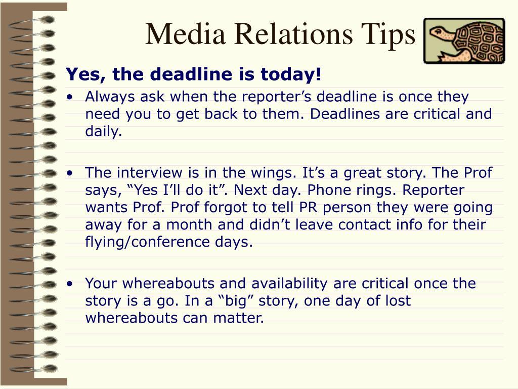 Media Relations Tips