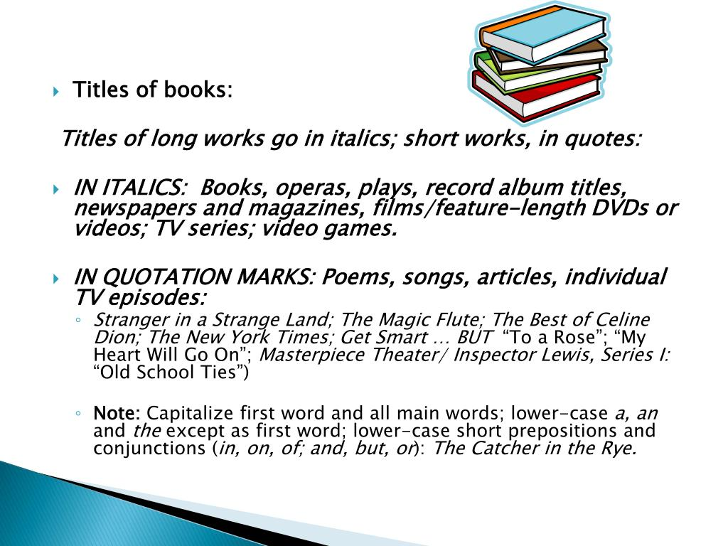 Titles of books: