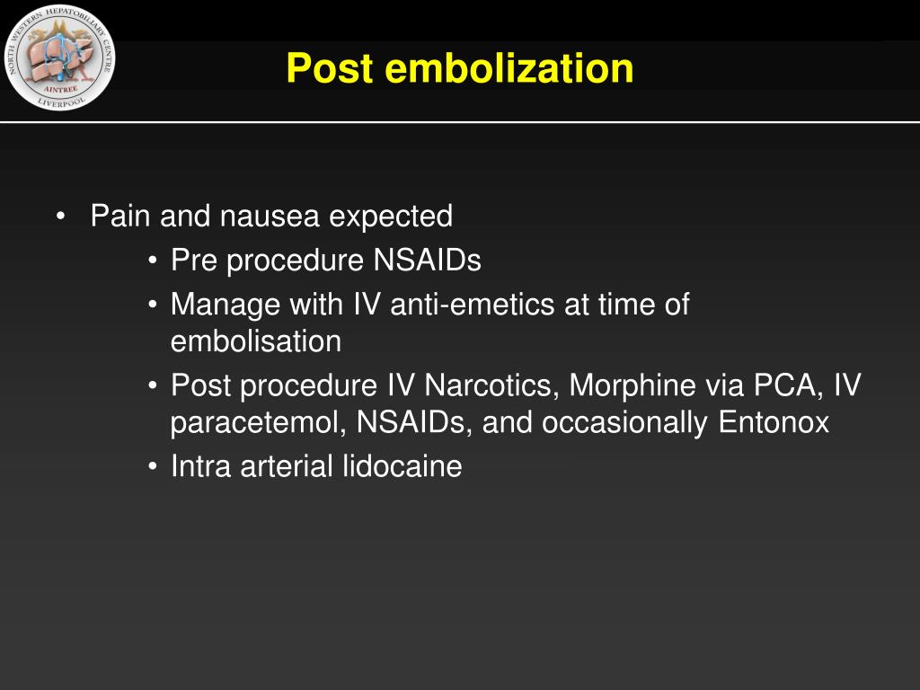 Post embolization