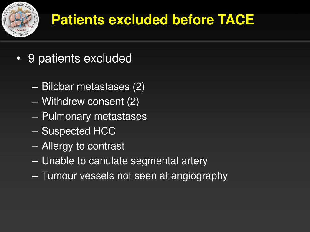 Patients excluded before TACE