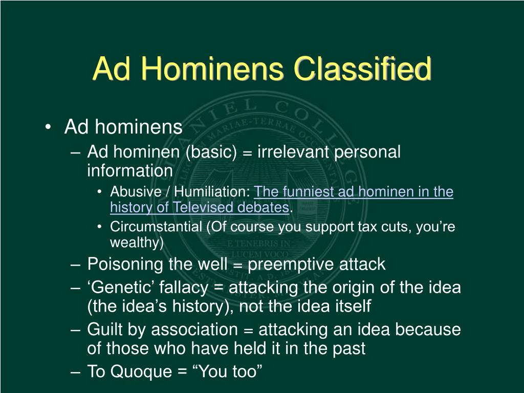 Ad Hominens Classified