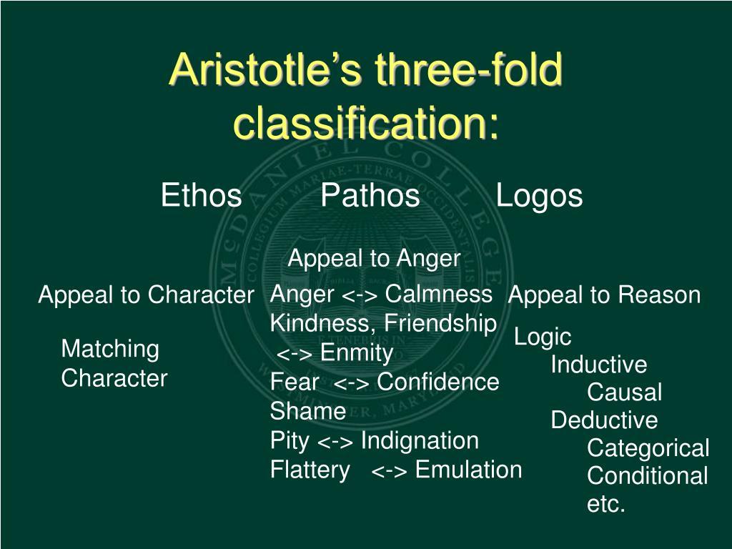 Aristotle's three-fold classification: