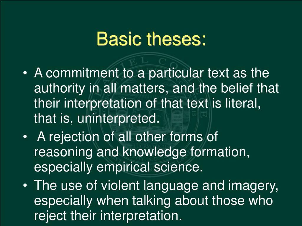 Basic theses: