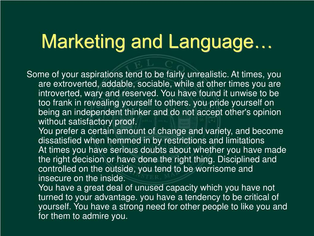 Marketing and Language…