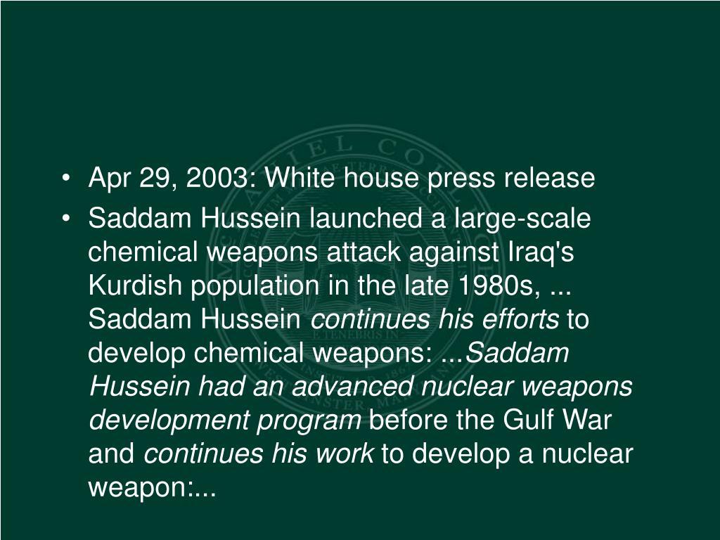 Apr 29, 2003: White house press release