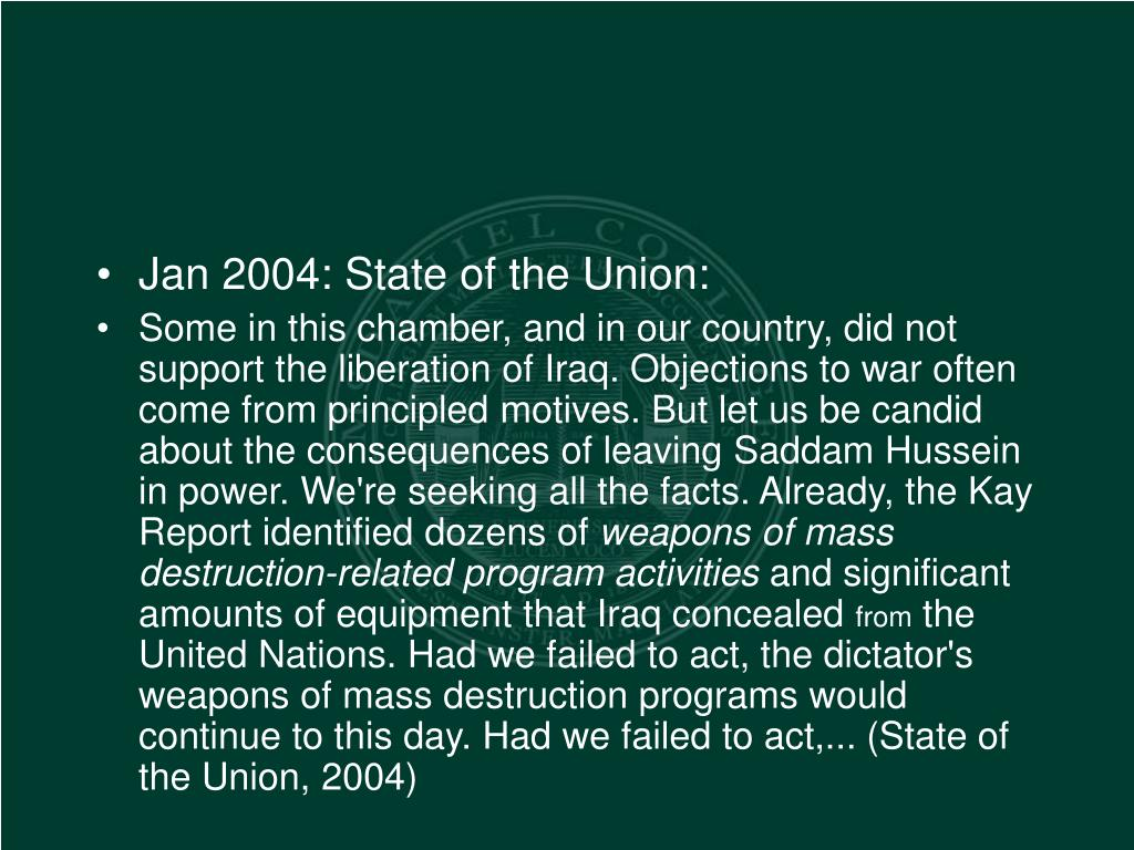 Jan 2004: State of the Union: