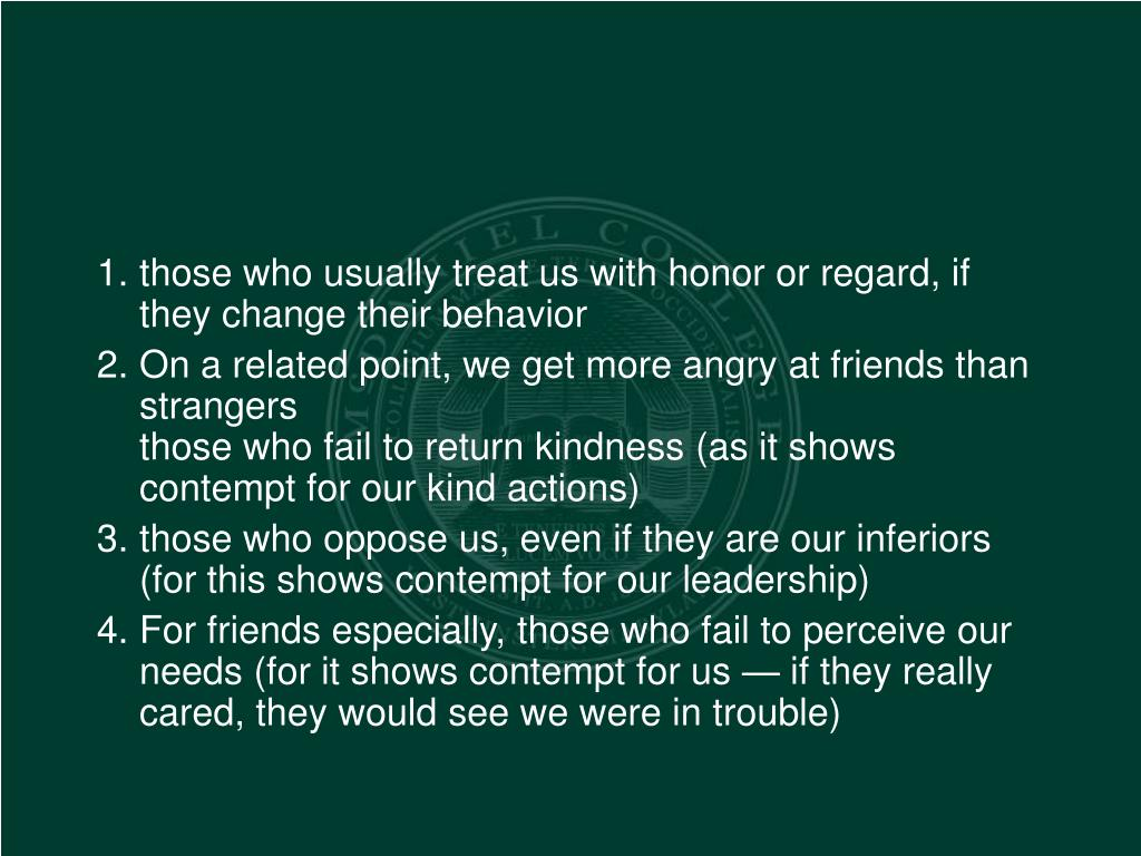 those who usually treat us with honor or regard, if they change their behavior
