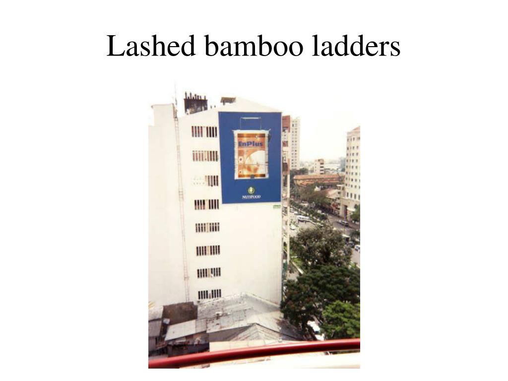 Lashed bamboo ladders