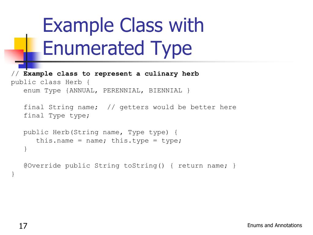 Example Class with Enumerated Type