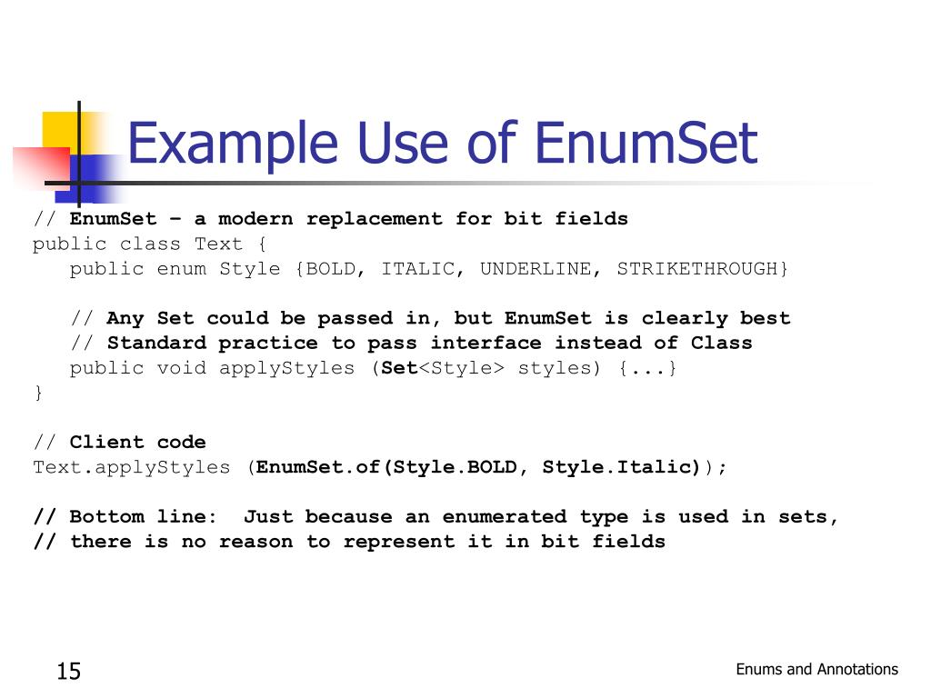 Example Use of EnumSet