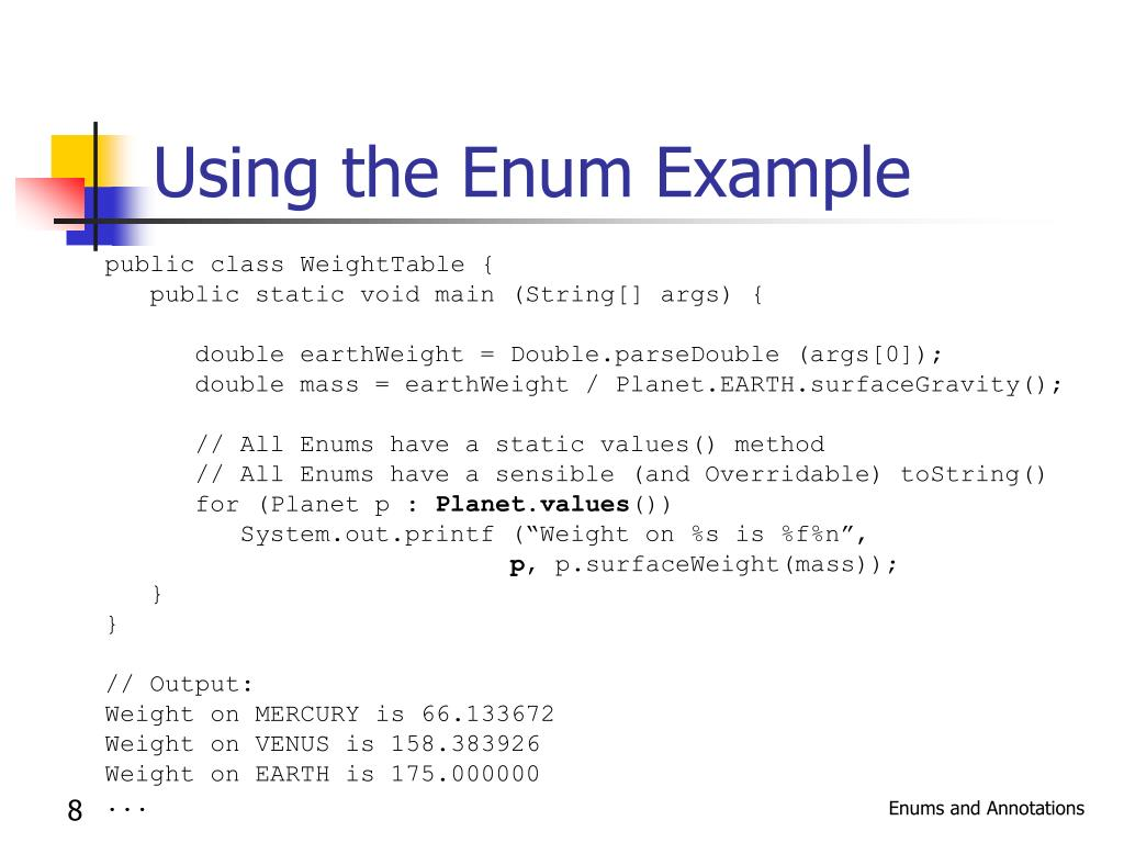 Using the Enum Example
