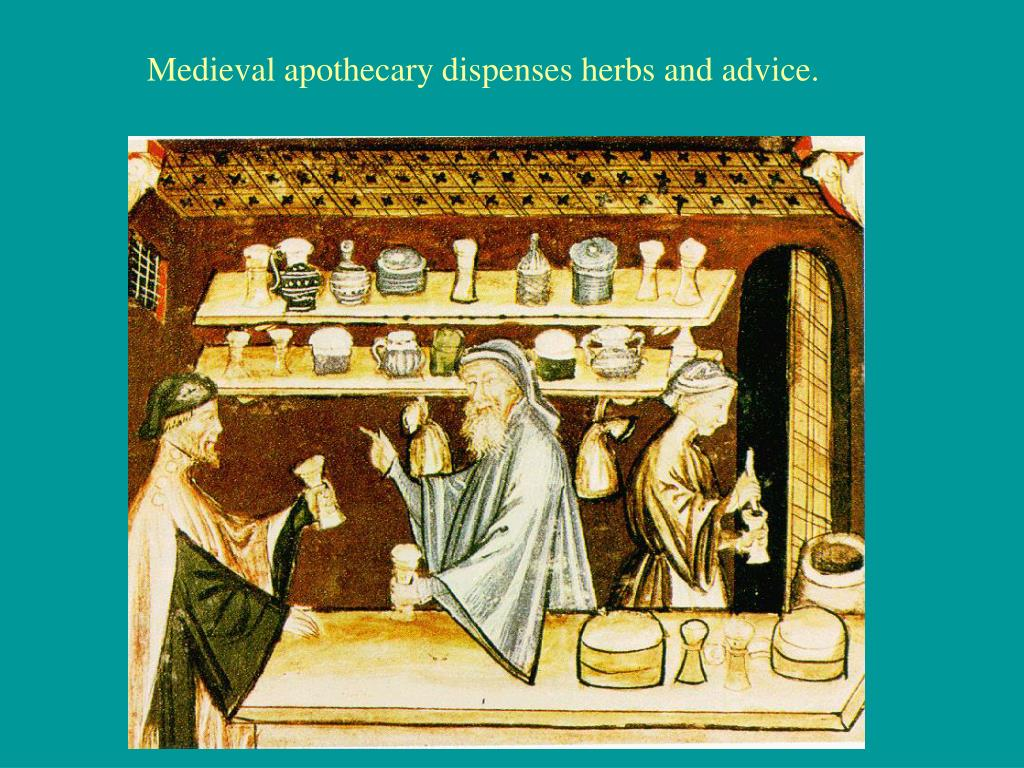 Medieval apothecary dispenses herbs and advice.