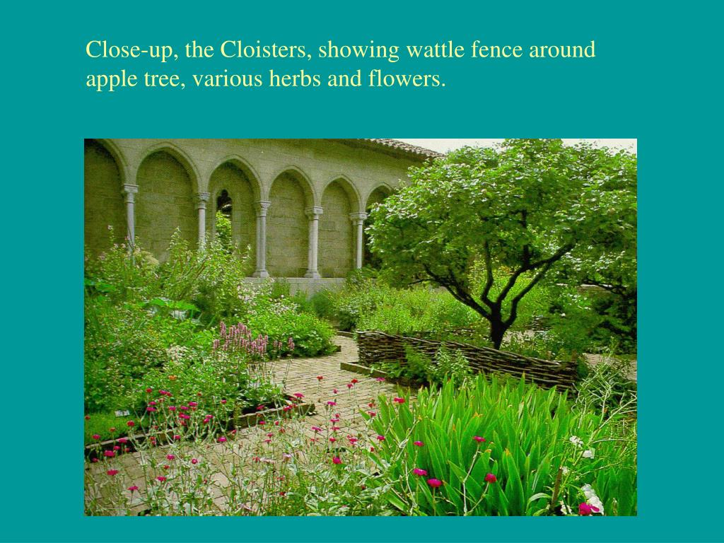 Close-up, the Cloisters, showing wattle fence around