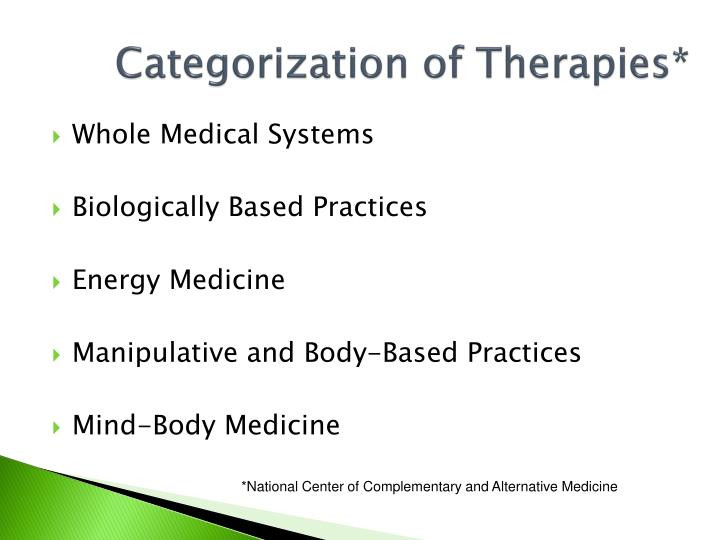 Categorization of therapies