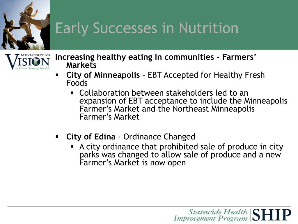 Early Successes in Nutrition