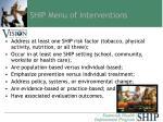 ship menu of interventions