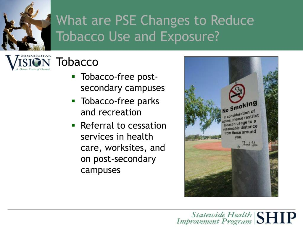 What are PSE Changes to Reduce Tobacco Use and Exposure?