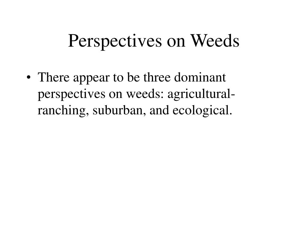 Perspectives on Weeds