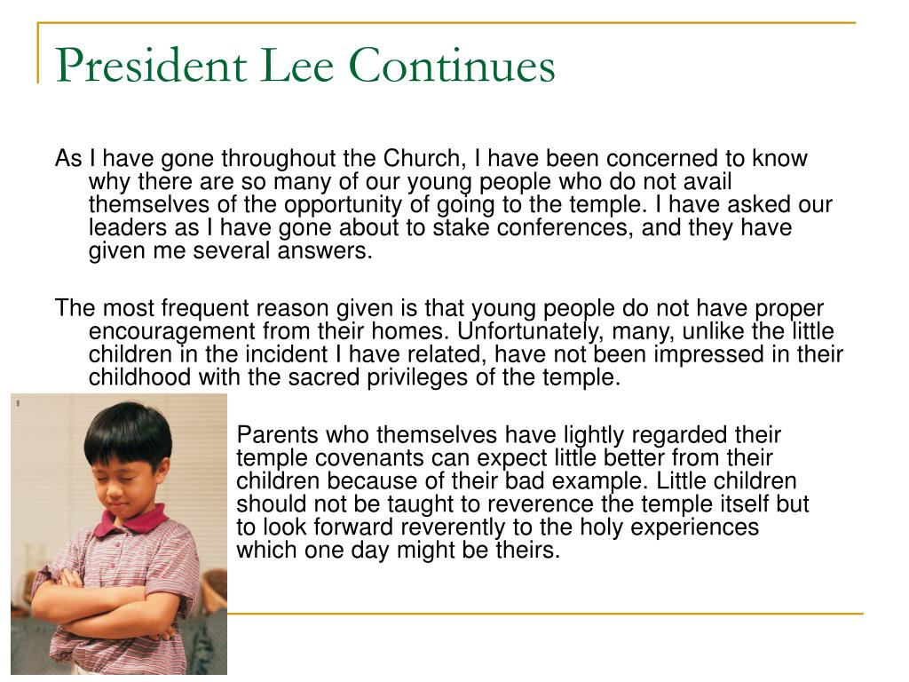 President Lee Continues