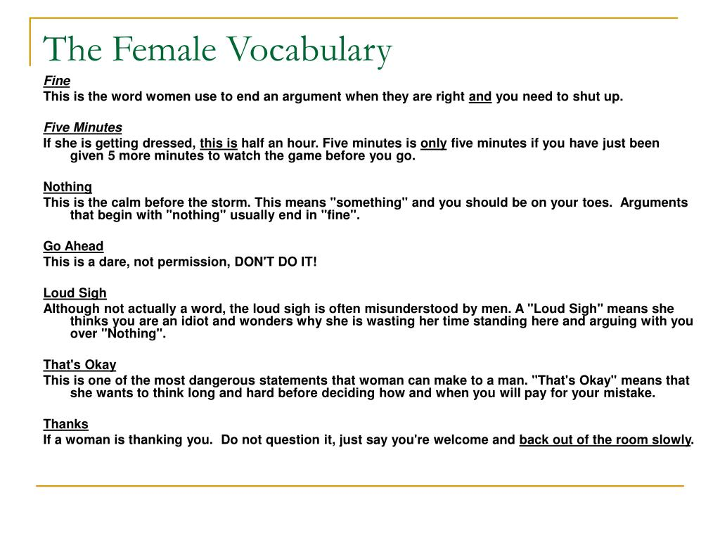 The Female Vocabulary