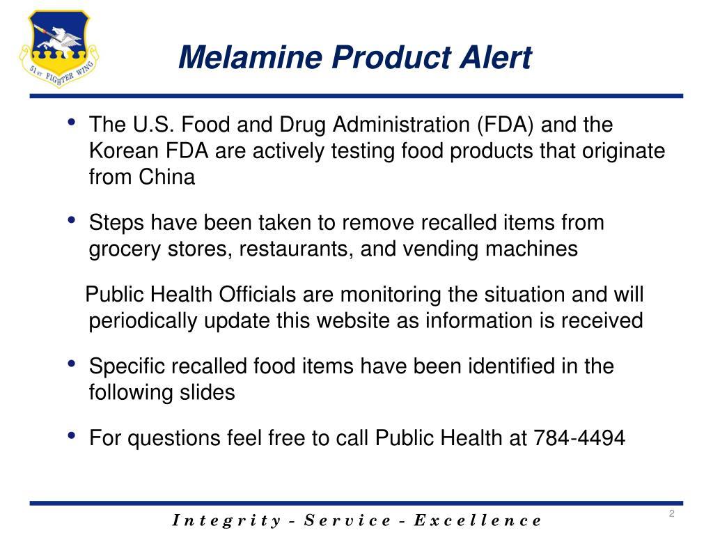 Melamine Product Alert