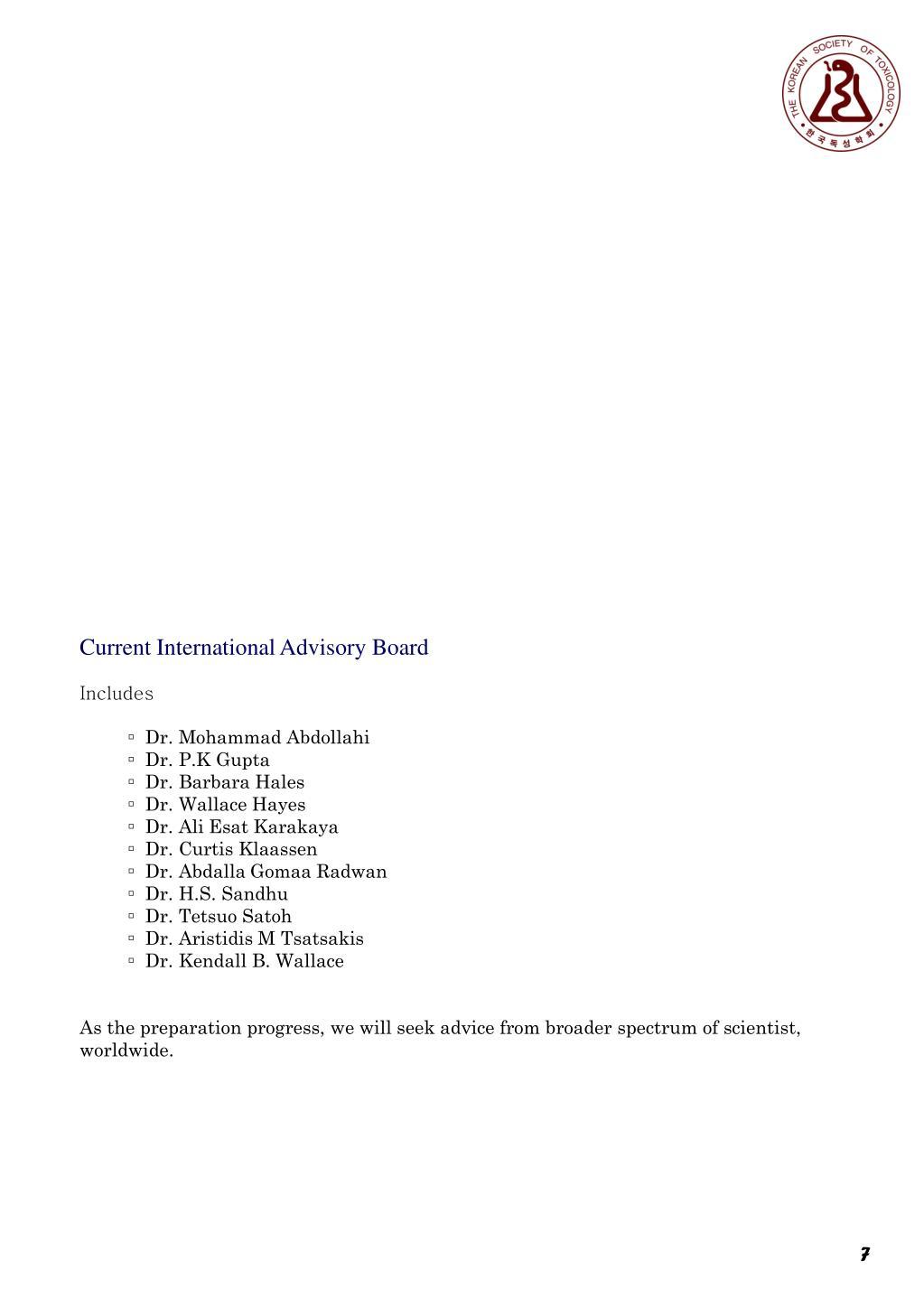 Current International Advisory Board