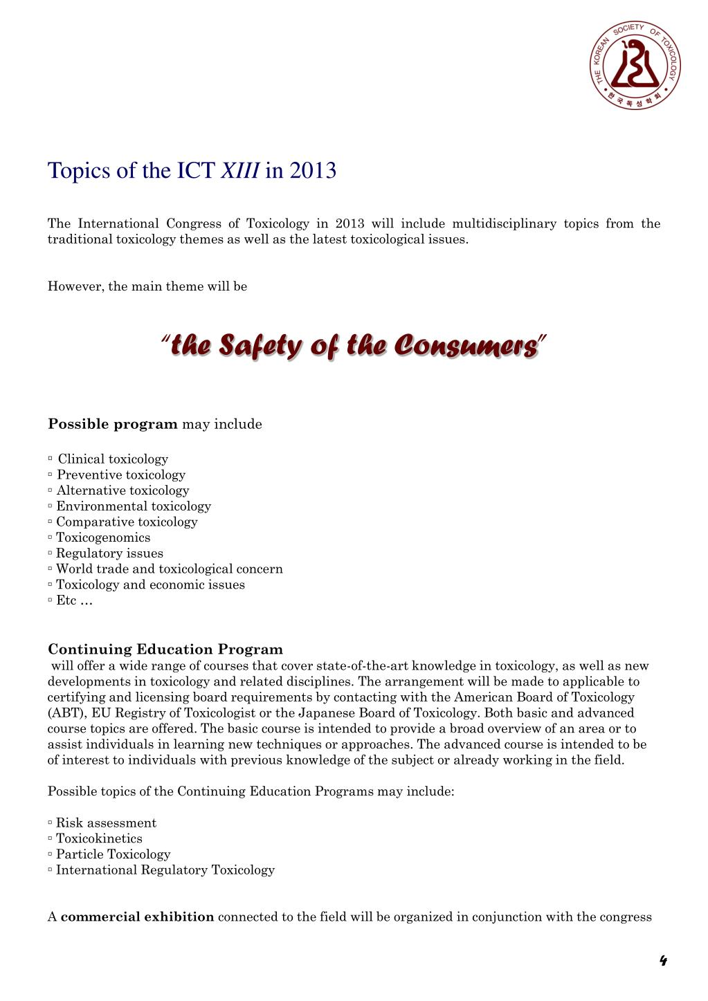 Topics of the ICT