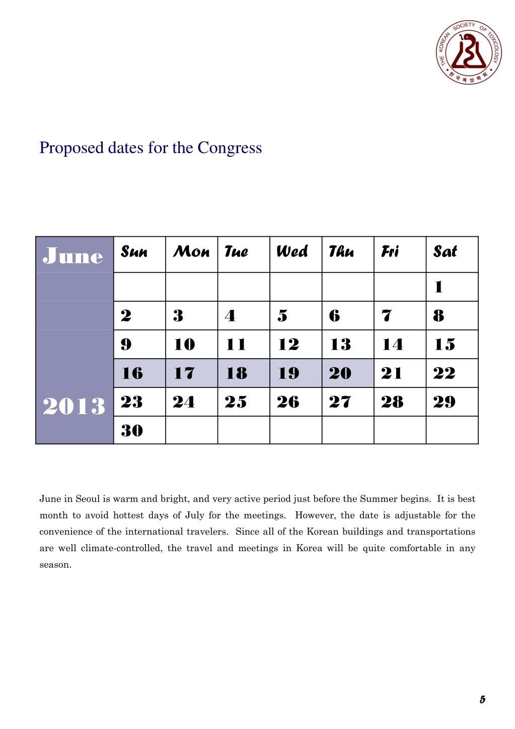Proposed dates for the Congress