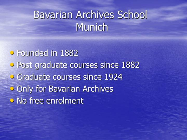 Bavarian archives school munich