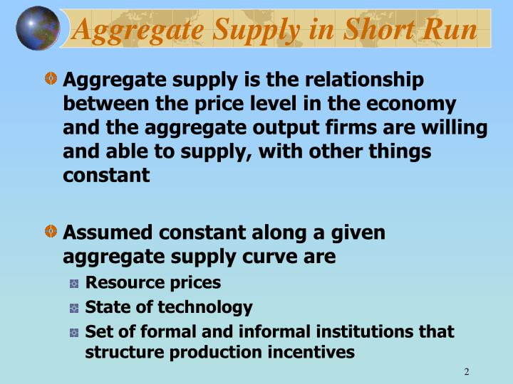 Aggregate supply in short run