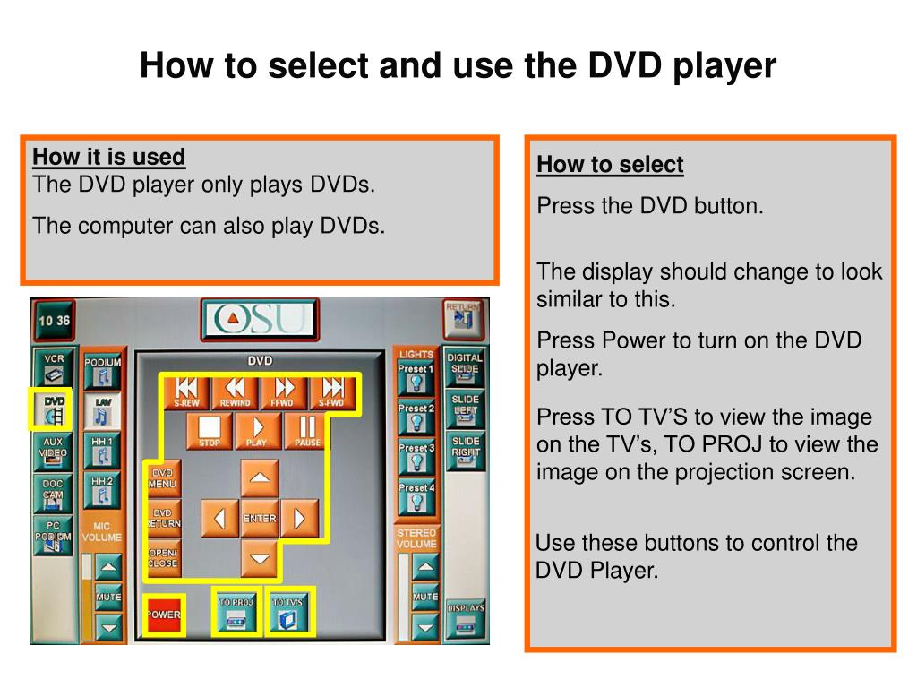 How to select and use the DVD player